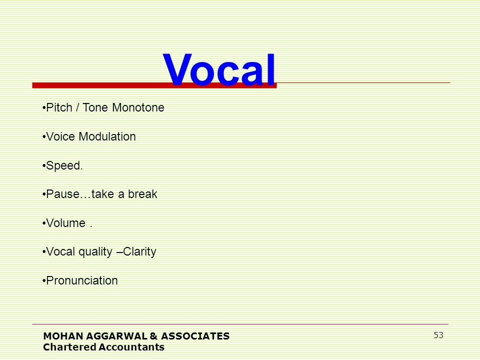 MOHAN AGGARWAL & ASSOCIATES Chartered Accountants 53 Vocal Pitch / Tone Monotone Voice Modulation Speed.