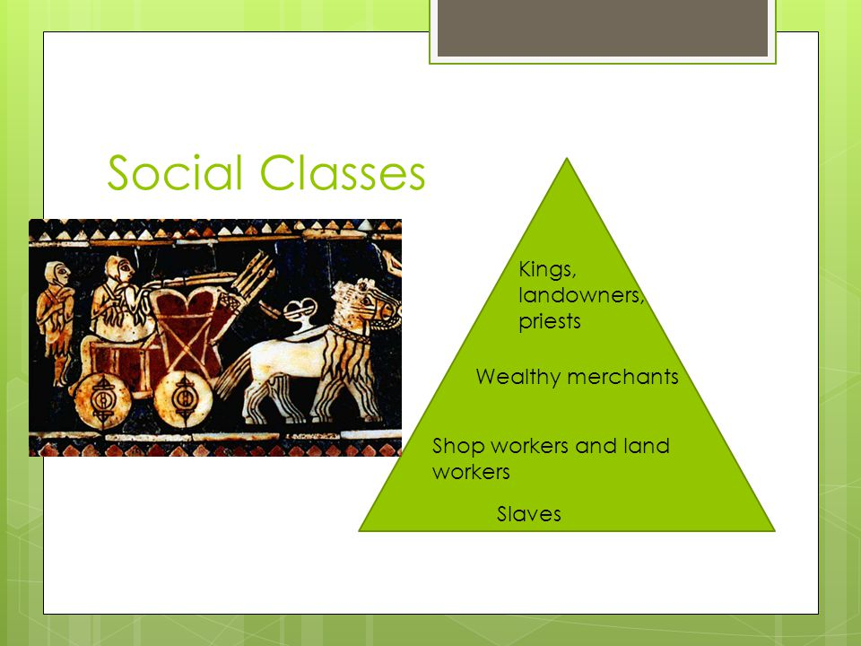 Social Classes Kings, landowners, priests Wealthy merchants Shop workers and land workers Slaves
