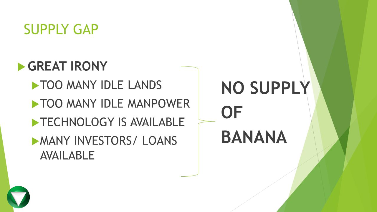 SUPPLY GAP  GREAT IRONY  TOO MANY IDLE LANDS  TOO MANY IDLE MANPOWER  TECHNOLOGY IS AVAILABLE  MANY INVESTORS/ LOANS AVAILABLE NO SUPPLY OF BANANA