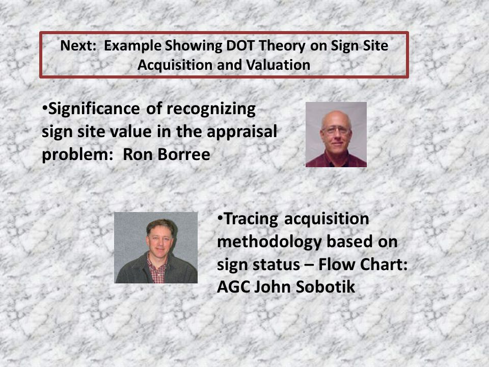 Next: Example Showing DOT Theory on Sign Site Acquisition and Valuation Significance of recognizing sign site value in the appraisal problem: Ron Borr