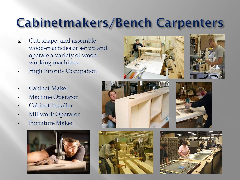  Cut, shape, and assemble wooden articles or set up and operate a variety of wood working machines. High Priority Occupation Cabinet Maker Machine Op
