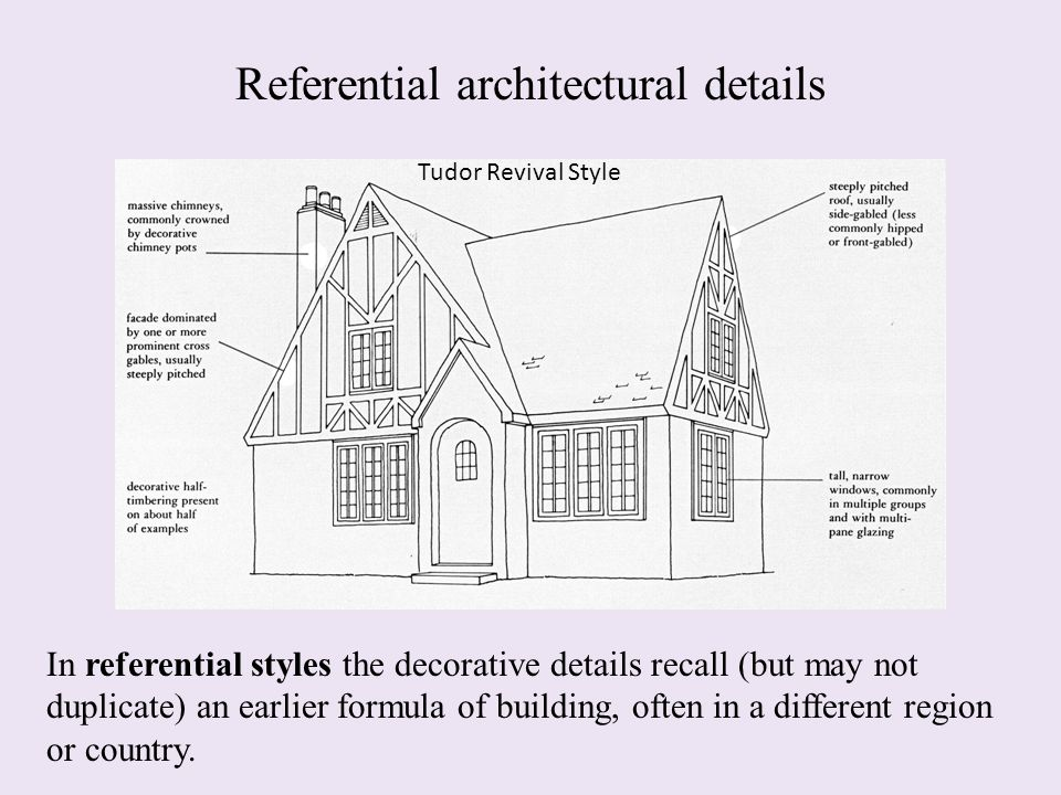 Referential architectural details In referential styles the decorative details recall (but may not duplicate) an earlier formula of building, often in