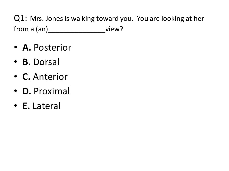 Q1: Mrs. Jones is walking toward you. You are looking at her from a (an)_______________view? A. Posterior B. Dorsal C. Anterior D. Proximal E. Lateral