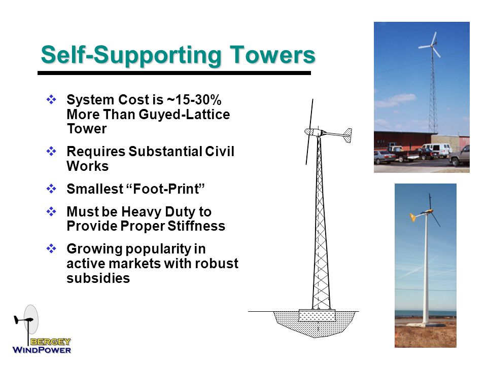 Self-Supporting Towers  System Cost is ~15-30% More Than Guyed-Lattice Tower  Requires Substantial Civil Works  Smallest Foot-Print  Must be Heavy Duty to Provide Proper Stiffness  Growing popularity in active markets with robust subsidies