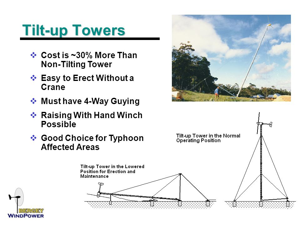 Tilt-up Towers  Cost is ~30% More Than Non-Tilting Tower  Easy to Erect Without a Crane  Must have 4-Way Guying  Raising With Hand Winch Possible  Good Choice for Typhoon Affected Areas