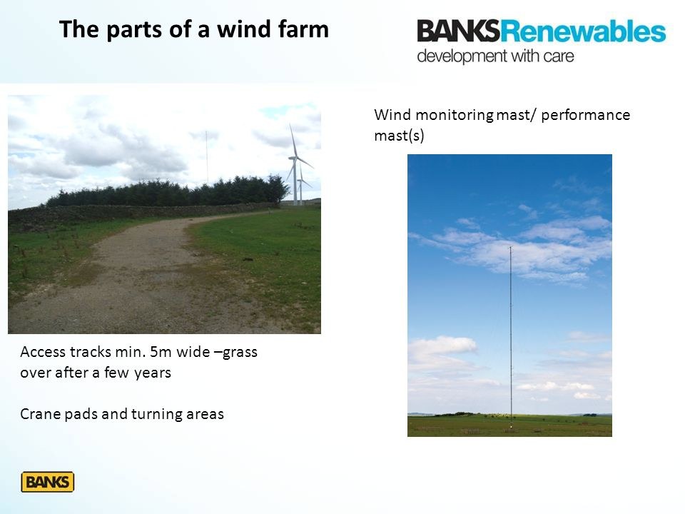 The parts of a wind farm Access tracks min. 5m wide –grass over after a few years Crane pads and turning areas Wind monitoring mast/ performance mast(