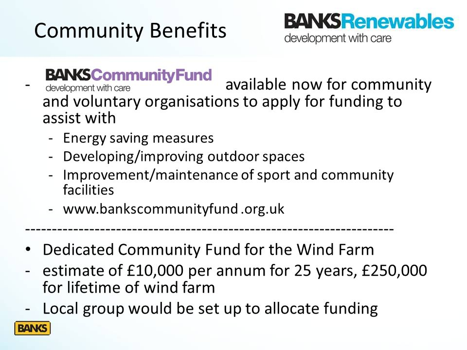 - available now for community and voluntary organisations to apply for funding to assist with -Energy saving measures -Developing/improving outdoor sp