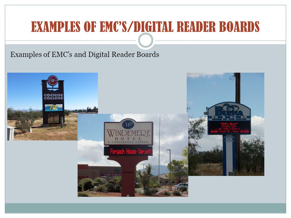 EXAMPLES OF EMC'S/DIGITAL READER BOARDS Examples of EMC's and Digital Reader Boards