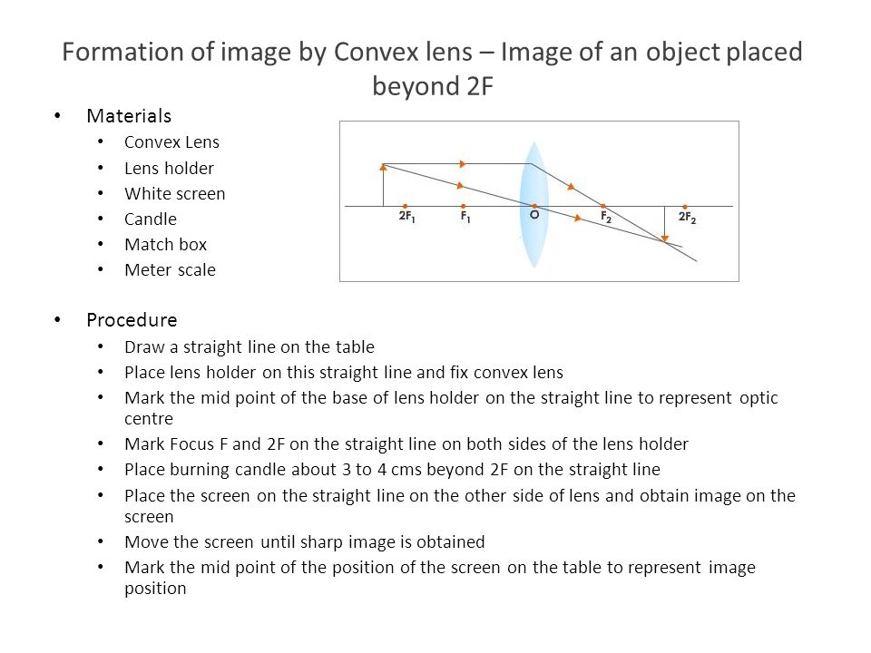 Formation of image by Convex lens – Image of an object placed beyond 2F Materials Convex Lens Lens holder White screen Candle Match box Meter scale Pr