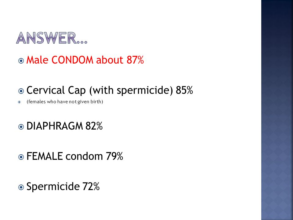  Male CONDOM about 87%  Cervical Cap (with spermicide) 85%  (females who have not given birth)  DIAPHRAGM 82%  FEMALE condom 79%  Spermicide 72%