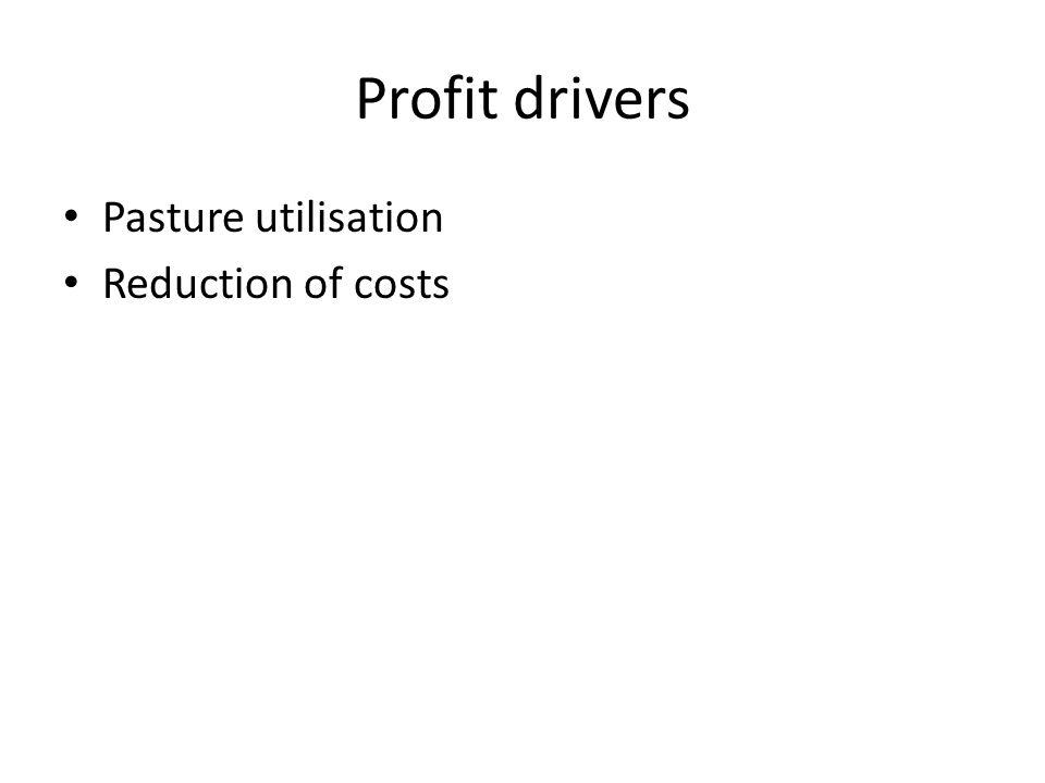 Profit drivers Pasture utilisation Reduction of costs