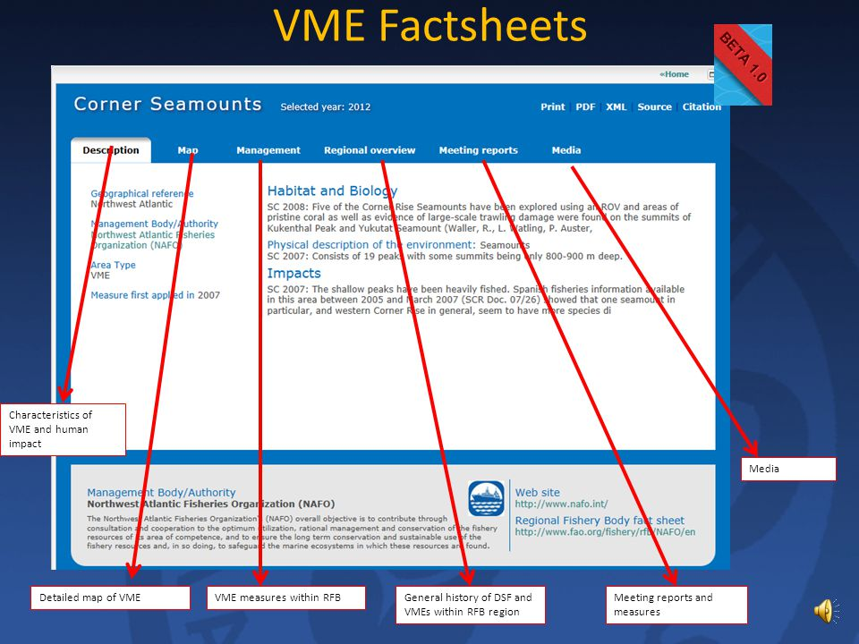 Mouse-over VME Download shapefile Zoom to area View factsheet Basic information in pop-up