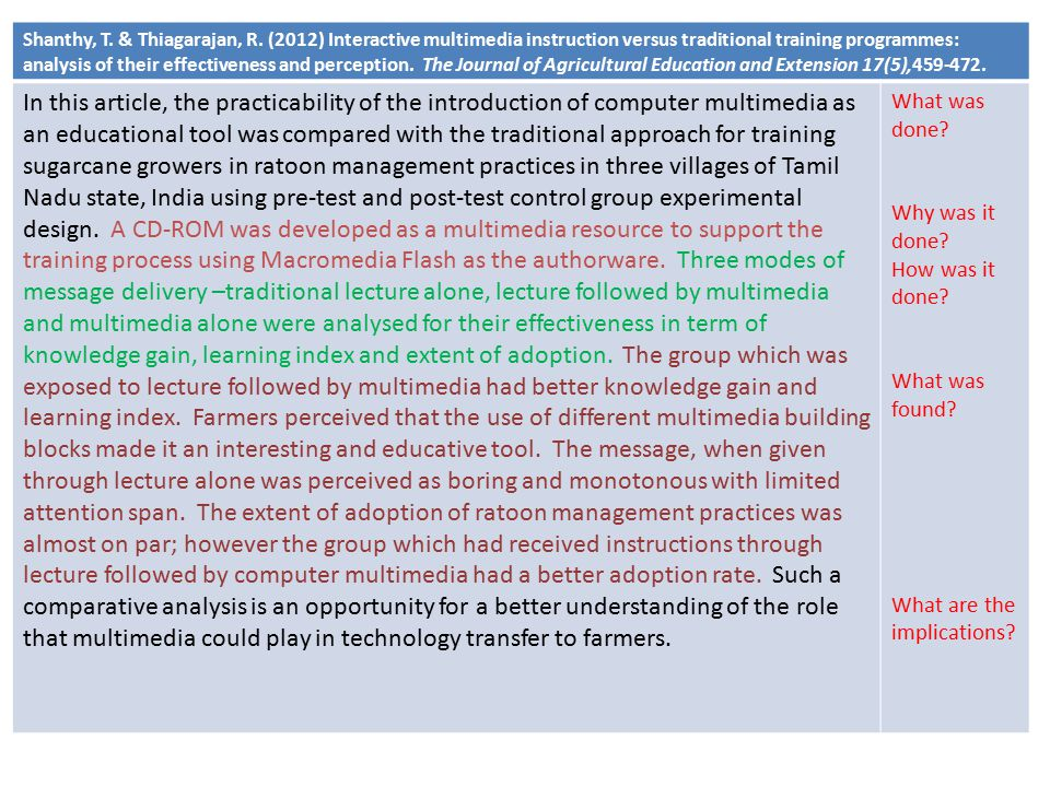Shanthy, T. & Thiagarajan, R. (2012) Interactive multimedia instruction versus traditional training programmes: analysis of their effectiveness and pe