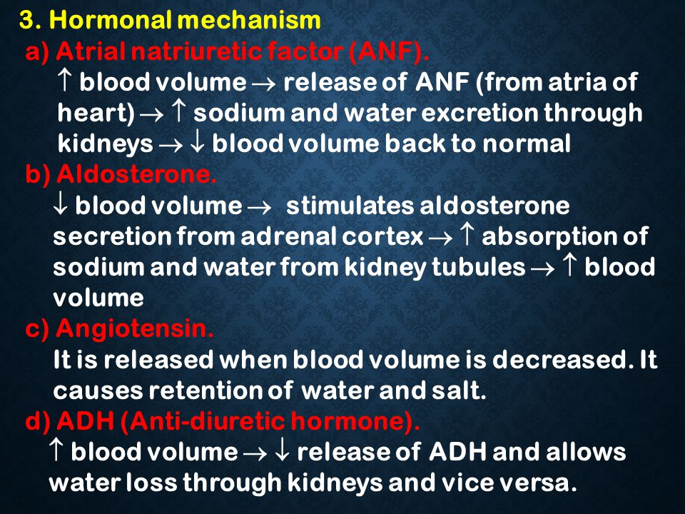 3. Hormonal mechanism a) Atrial natriuretic factor (ANF).  blood volume  release of ANF (from atria of heart)   sodium and water excretion through