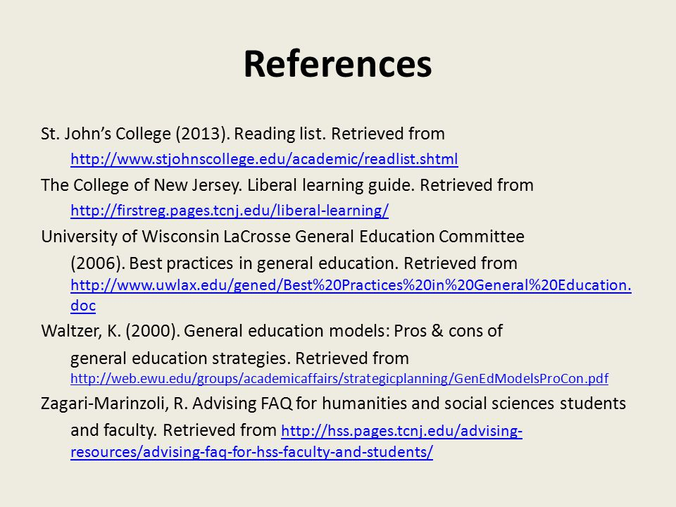 References St. John's College (2013). Reading list.