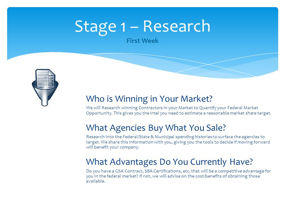 Who is Winning in Your Market? We will Research winning Contractors in your Market to Quantify your Federal Market Opportunity. This gives you the int