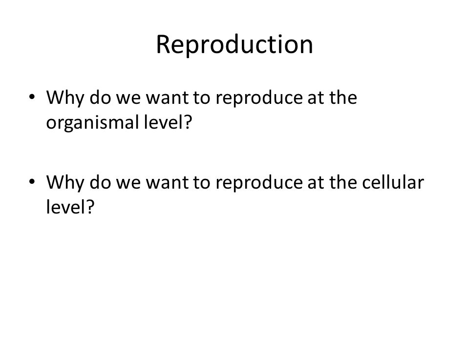 Reproduction Why do we want to reproduce at the organismal level? Why do we want to reproduce at the cellular level?