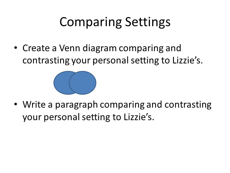 Comparing Settings Create a Venn diagram comparing and contrasting your personal setting to Lizzie's.