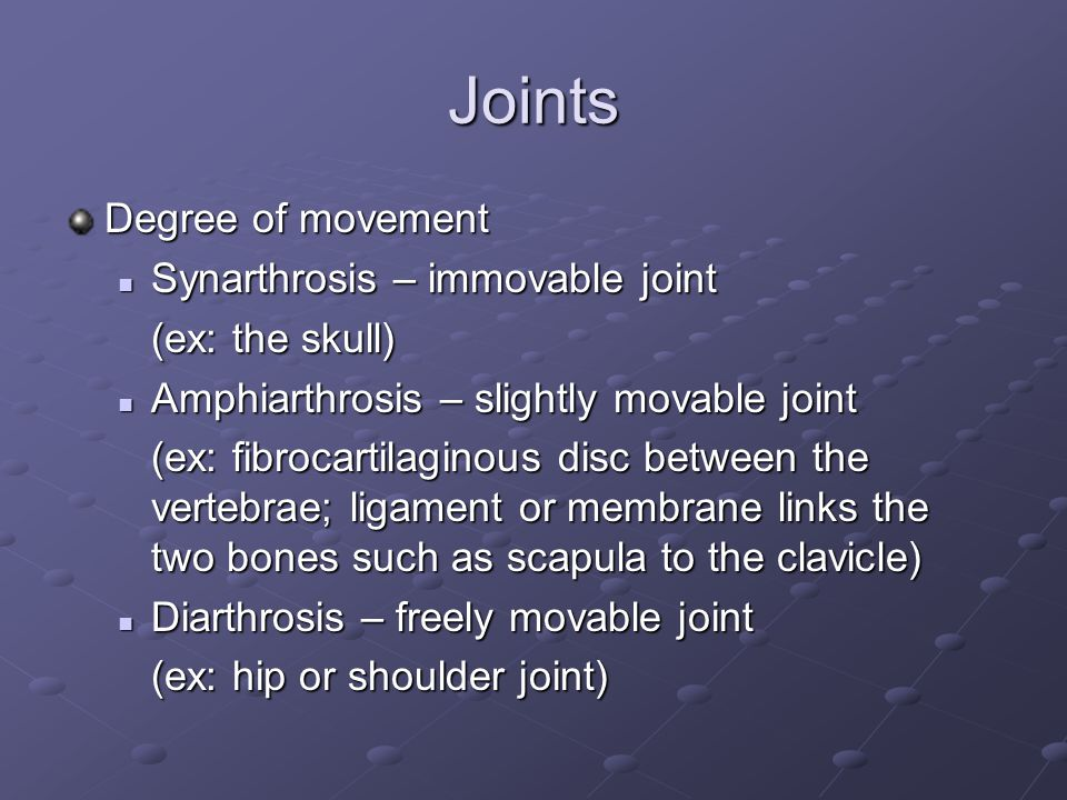 Joints Degree of movement Synarthrosis – immovable joint Synarthrosis – immovable joint (ex: the skull) Amphiarthrosis – slightly movable joint Amphiarthrosis – slightly movable joint (ex: fibrocartilaginous disc between the vertebrae; ligament or membrane links the two bones such as scapula to the clavicle) Diarthrosis – freely movable joint Diarthrosis – freely movable joint (ex: hip or shoulder joint)