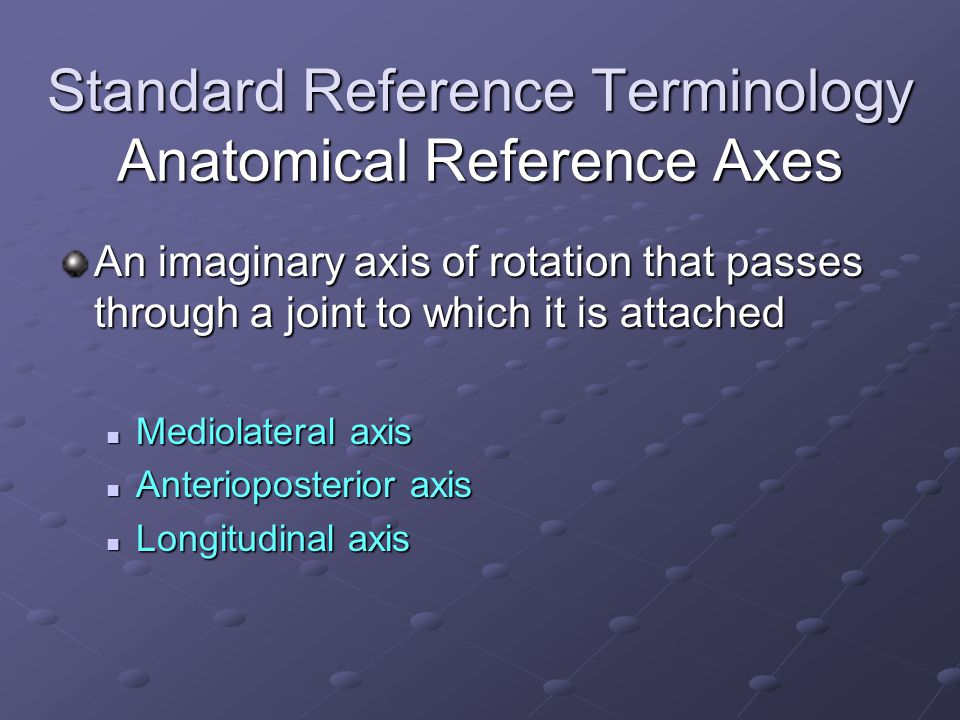 Standard Reference Terminology Anatomical Reference Axes An imaginary axis of rotation that passes through a joint to which it is attached Mediolateral axis Mediolateral axis Anterioposterior axis Anterioposterior axis Longitudinal axis Longitudinal axis