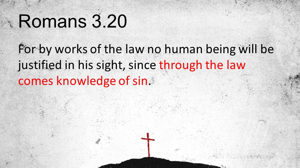 Romans 3.20 For by works of the law no human being will be justified in his sight, since through the law comes knowledge of sin.