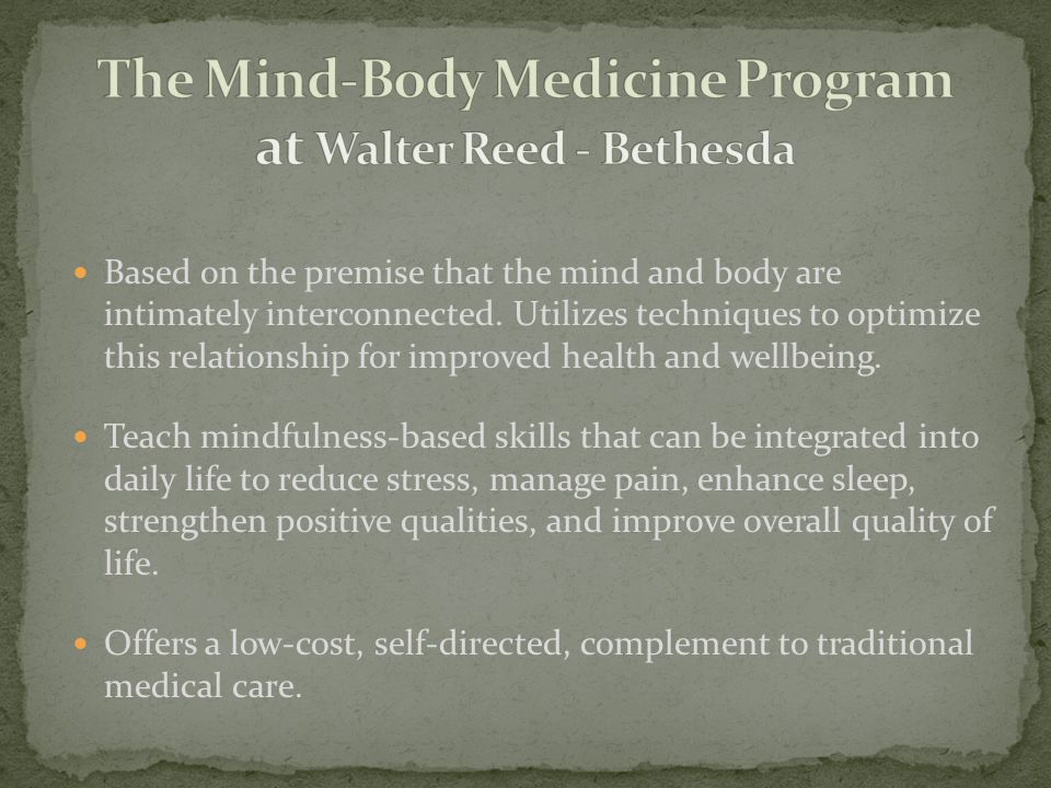 In 1979, Jon Kabat-Zinn created Mindfulness-Based Stress Reduction (MBSR) at the University of Massachusetts Medical School to treat chronically ill patients.