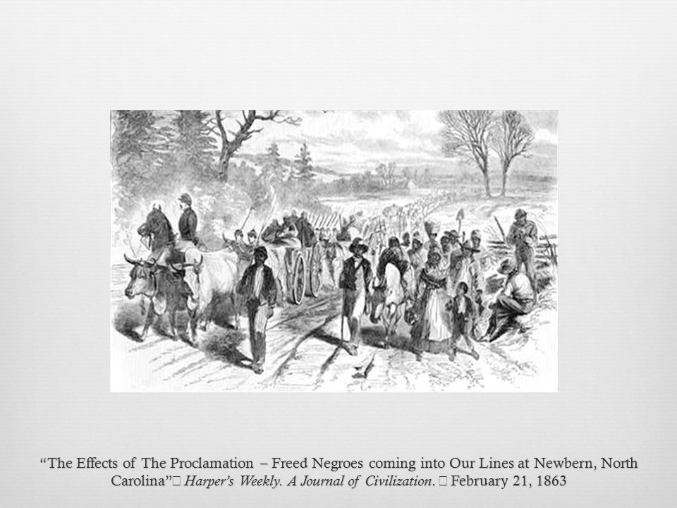 The Effects of The Proclamation – Freed Negroes coming into Our Lines at Newbern, North Carolina Harper's Weekly.