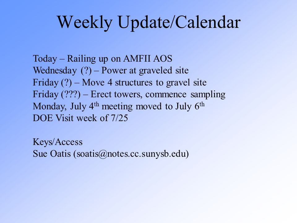 Weekly Update/Calendar Today – Railing up on AMFII AOS Wednesday (?) – Power at graveled site Friday (?) – Move 4 structures to gravel site Friday (??