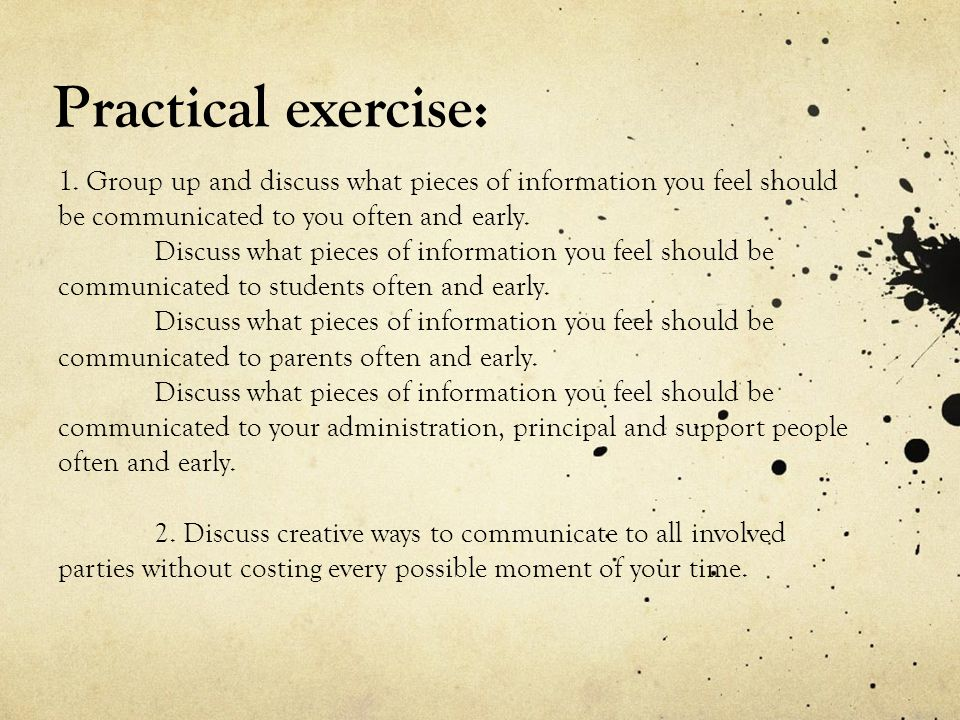 Practical exercise: 1.