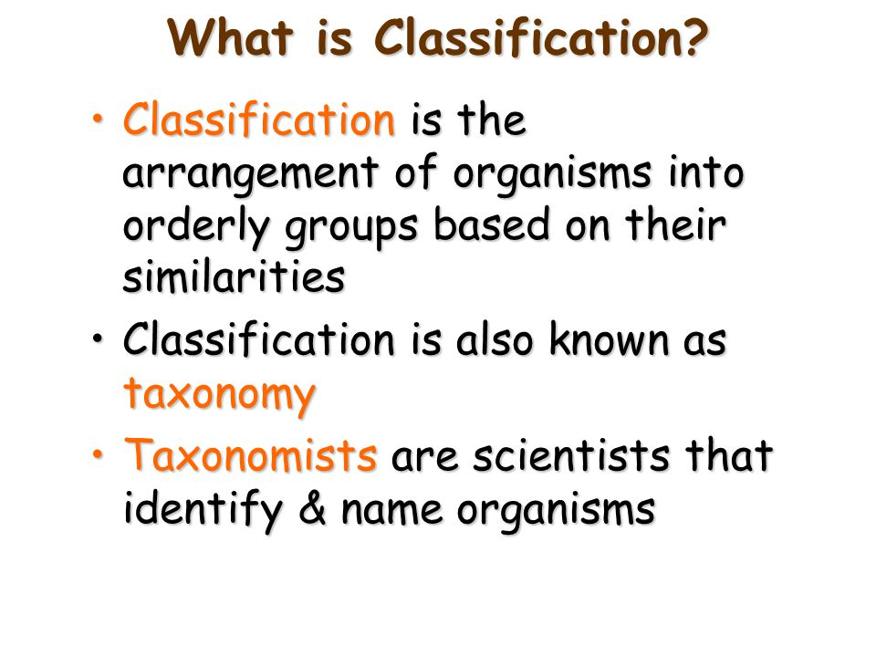 What is Classification? Classification is the arrangement of organisms into orderly groups based on their similaritiesClassification is the arrangemen