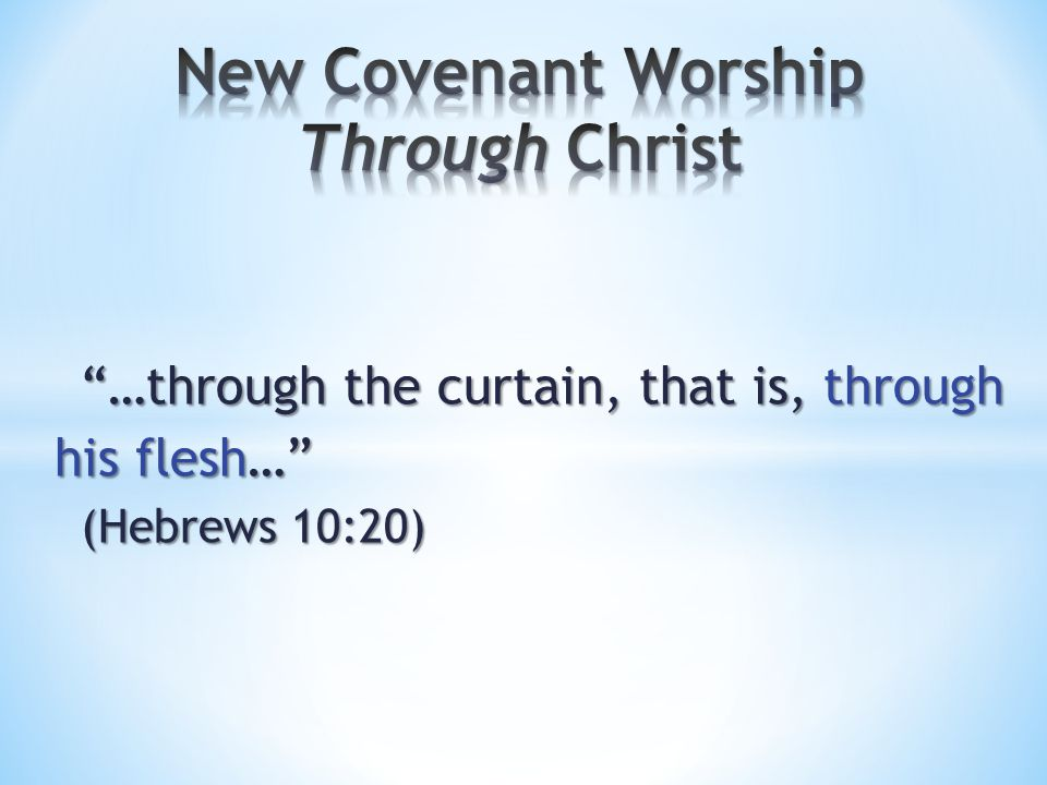 …through the curtain, that is, through his flesh… (Hebrews 10:20)