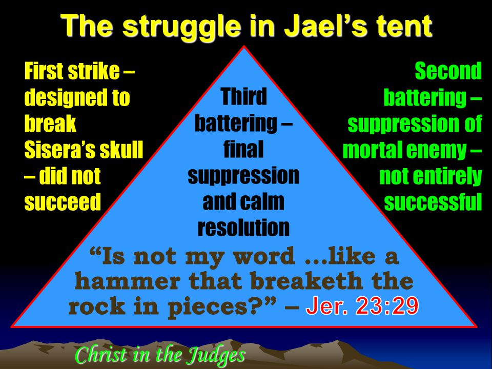 Christ in the Judges The struggle in Jael's tent First strike – designed to break Sisera's skull – did not succeed Second battering – suppression of m