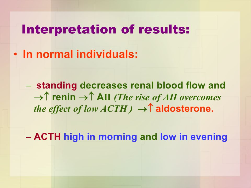 Interpretation of results: In normal individuals: – standing decreases renal blood flow and  renin  A II (The rise of AII overcomes the effect of low ACTH )  aldosterone.