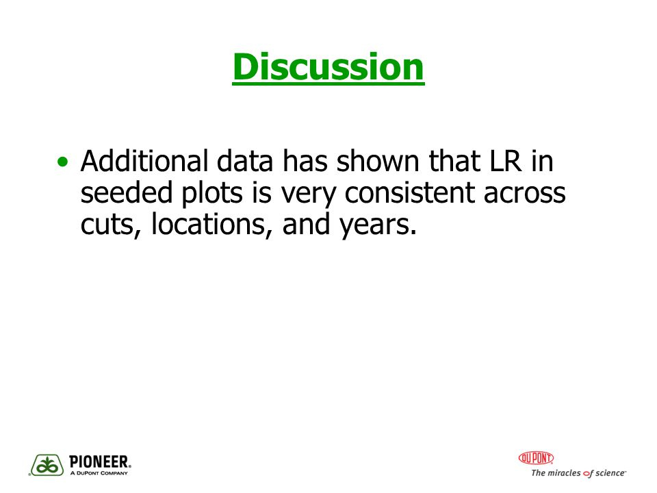Discussion Additional data has shown that LR in seeded plots is very consistent across cuts, locations, and years.