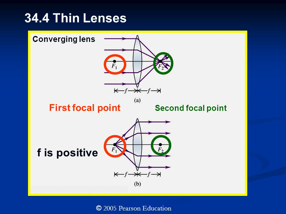 34.4 Thin Lenses © 2005 Pearson Education First focal point Second focal point f is positive Converging lens