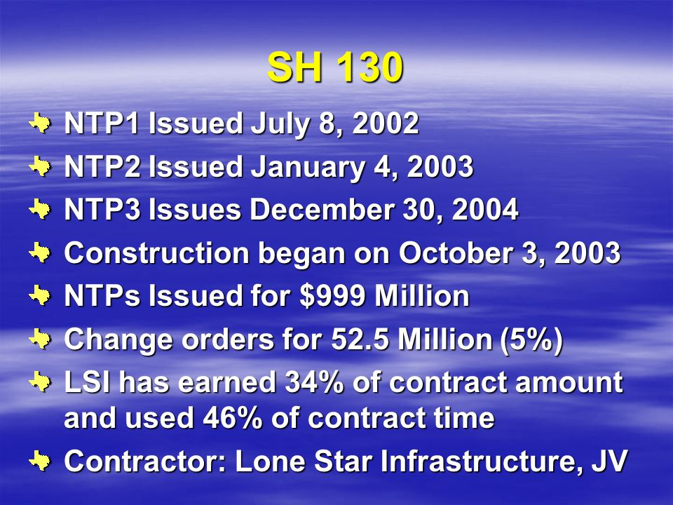 SH 130 NTP1 Issued July 8, 2002 NTP2 Issued January 4, 2003 NTP3 Issues December 30, 2004 Construction began on October 3, 2003 NTPs Issued for $999 M