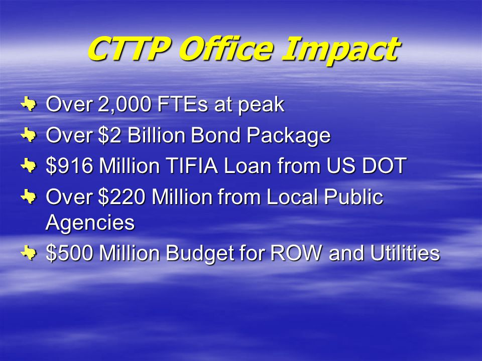 CTTP Office Impact Over 2,000 FTEs at peak Over $2 Billion Bond Package $916 Million TIFIA Loan from US DOT Over $220 Million from Local Public Agenci