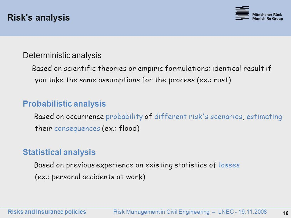 18 Risks and Insurance policies Risk Management in Civil Engineering – LNEC - 19.11.2008 Deterministic analysis Based on scientific theories or empiri