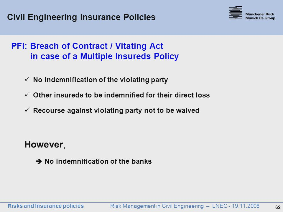 62 Risks and Insurance policies Risk Management in Civil Engineering – LNEC - 19.11.2008 PFI: Breach of Contract / Vitating Act in case of a Multiple