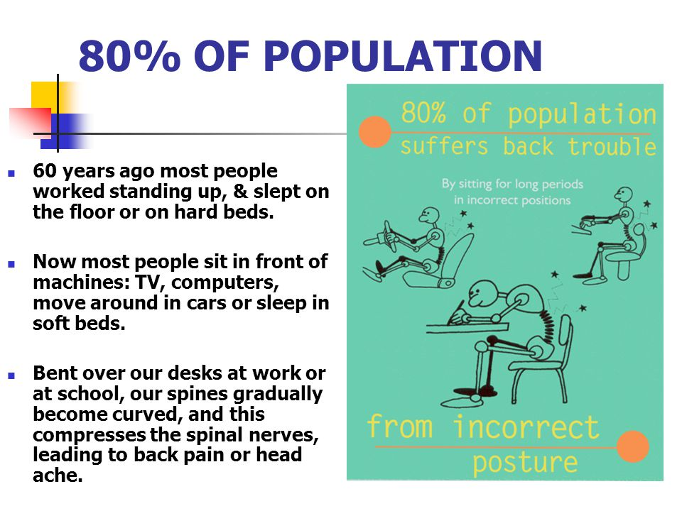 80% OF POPULATION 60 years ago most people worked standing up, & slept on the floor or on hard beds. Now most people sit in front of machines: TV, com