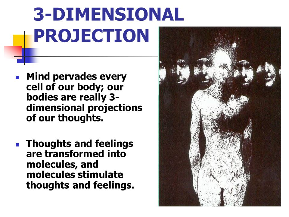 3-DIMENSIONAL PROJECTION Mind pervades every cell of our body; our bodies are really 3- dimensional projections of our thoughts. Thoughts and feelings