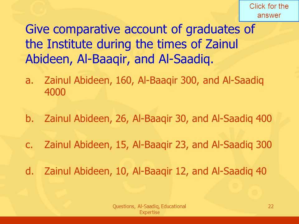 Click for the answer Questions, Al-Saadiq, Educational Expertise 22 Give comparative account of graduates of the Institute during the times of Zainul Abideen, Al ‑ Baaqir, and Al-Saadiq.