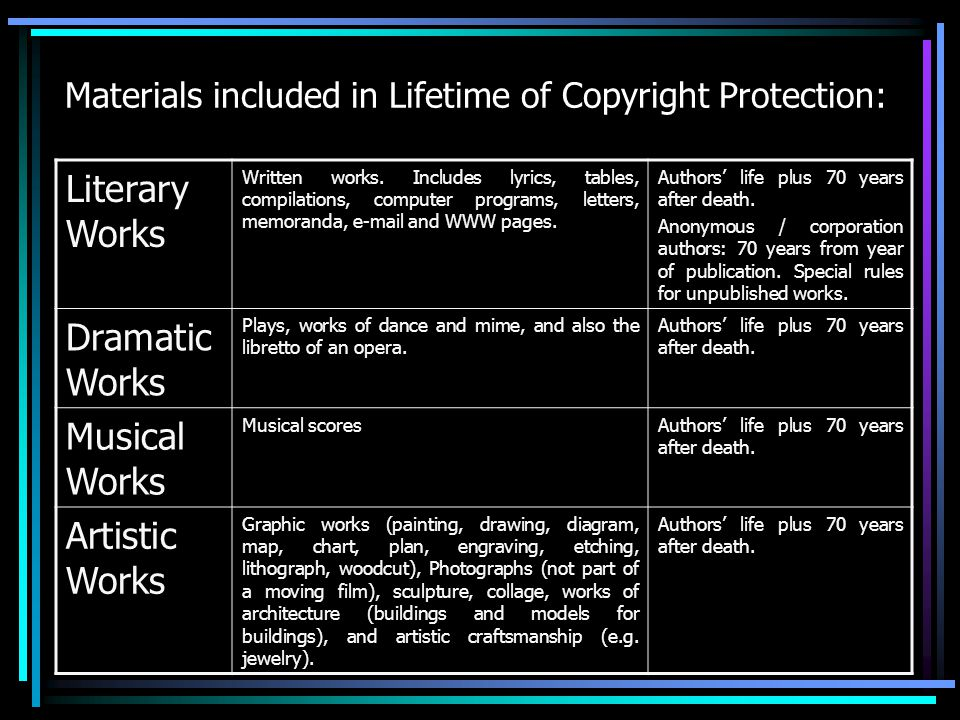 Materials included in Lifetime of Copyright Protection: Literary Works Written works.