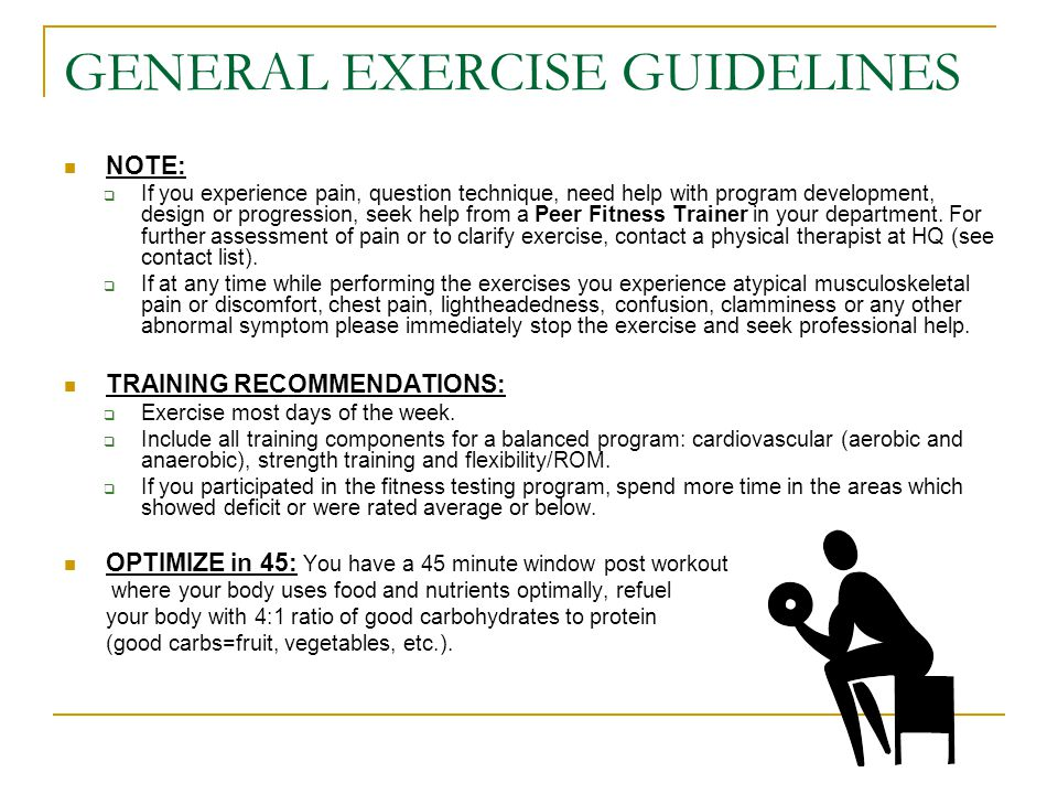 GENERAL EXERCISE GUIDELINES CARDIOVASCULAR:  Research shows that fire fighters must be able to work at a VO2max ≥ 42 ml/kg/min.