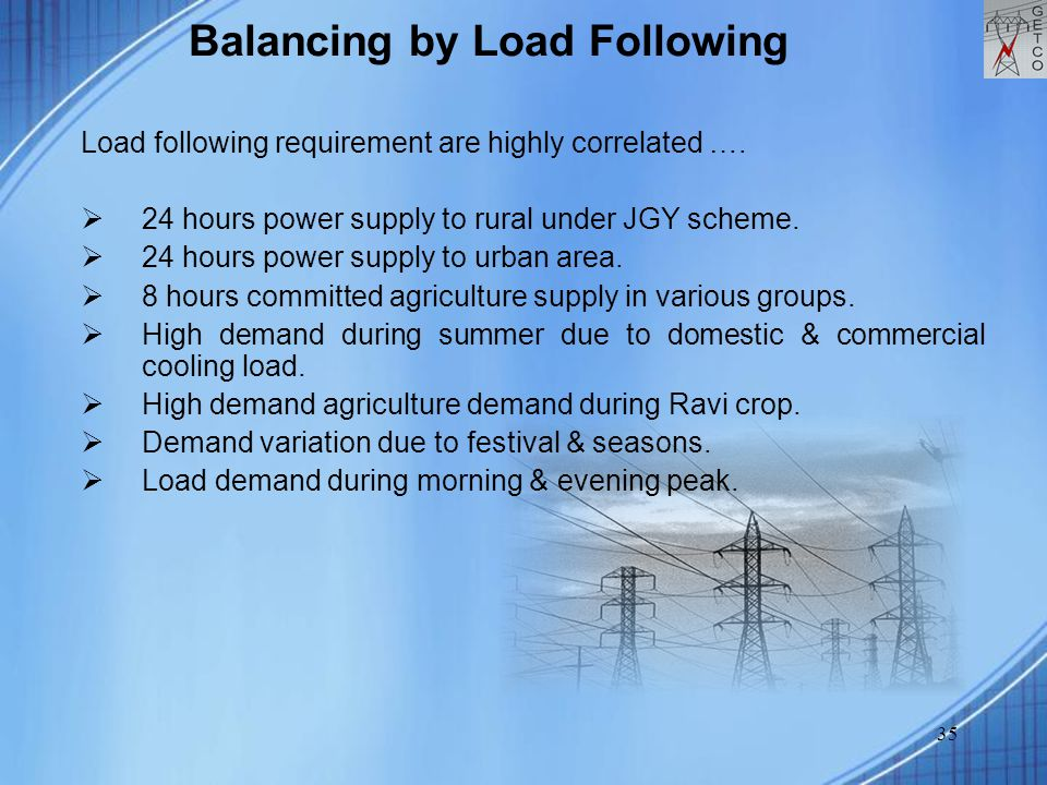 35 Balancing by Load Following Load following requirement are highly correlated ….  24 hours power supply to rural under JGY scheme.  24 hours power