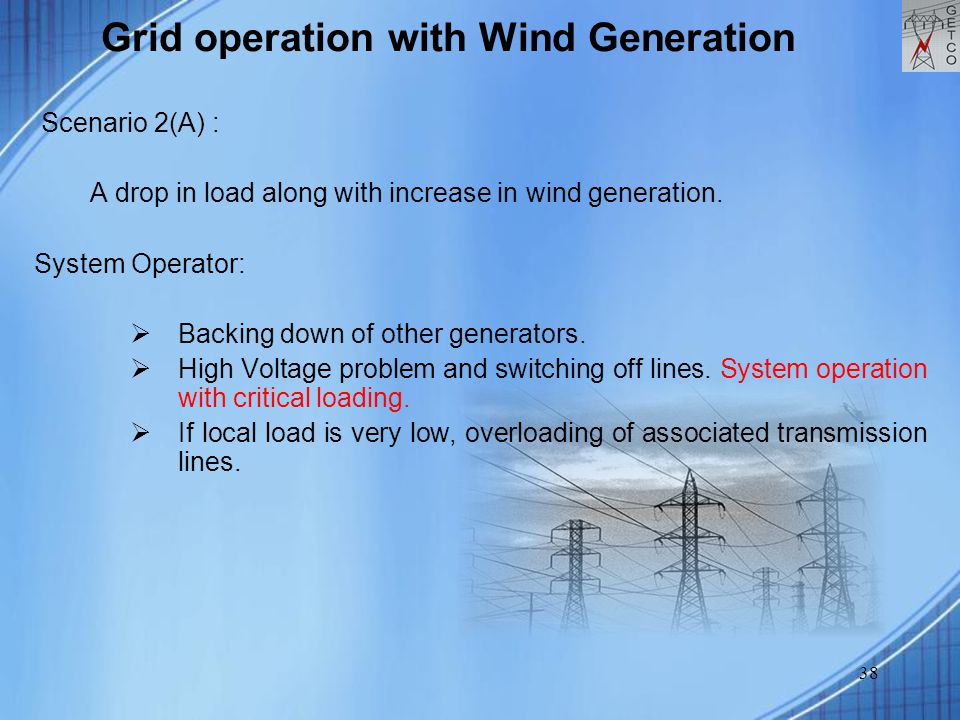 38 Grid operation with Wind Generation Scenario 2(A) : A drop in load along with increase in wind generation.