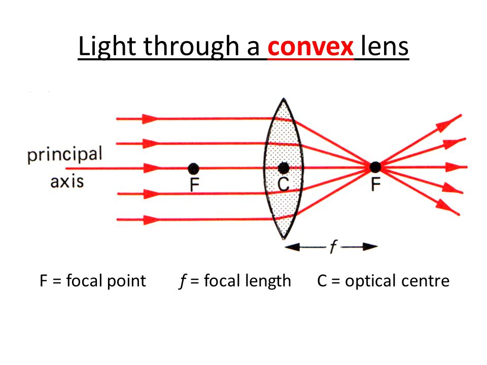 Light through a convex lens f = focal lengthF = focal pointC = optical centre