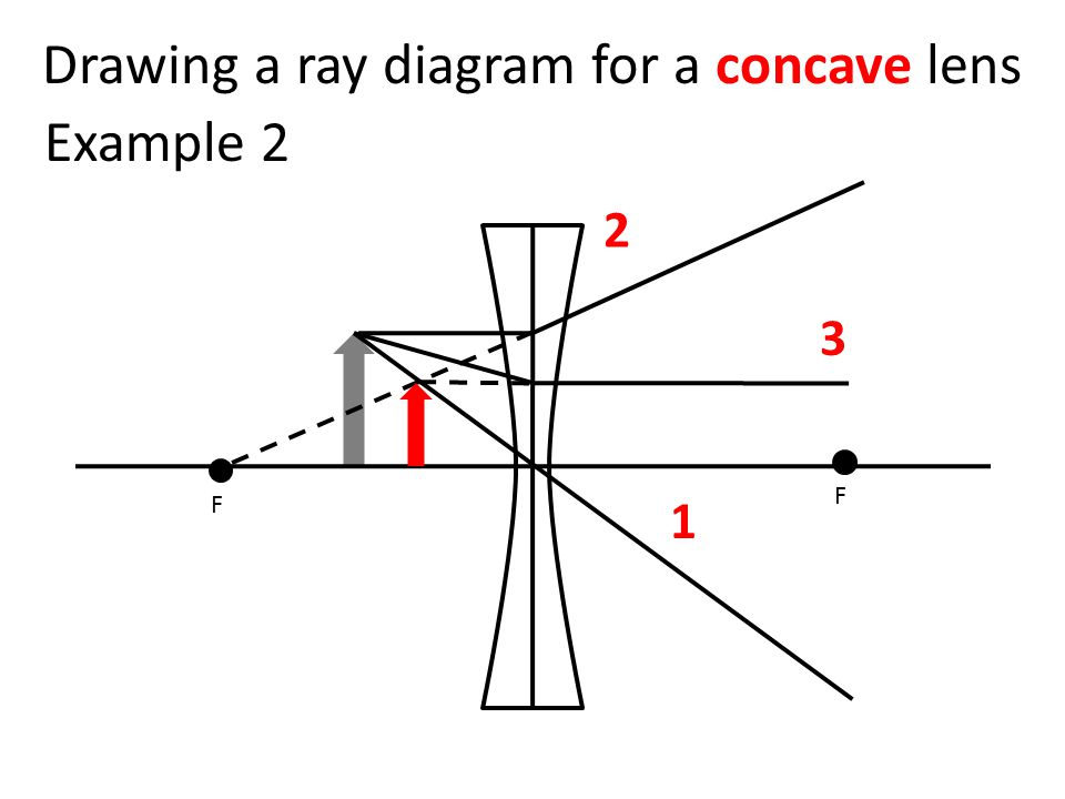 Drawing a ray diagram for a concave lens F F 1 2 3 Example 2