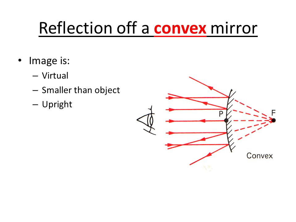 Reflection off a convex mirror Image is: – Virtual – Smaller than object – Upright