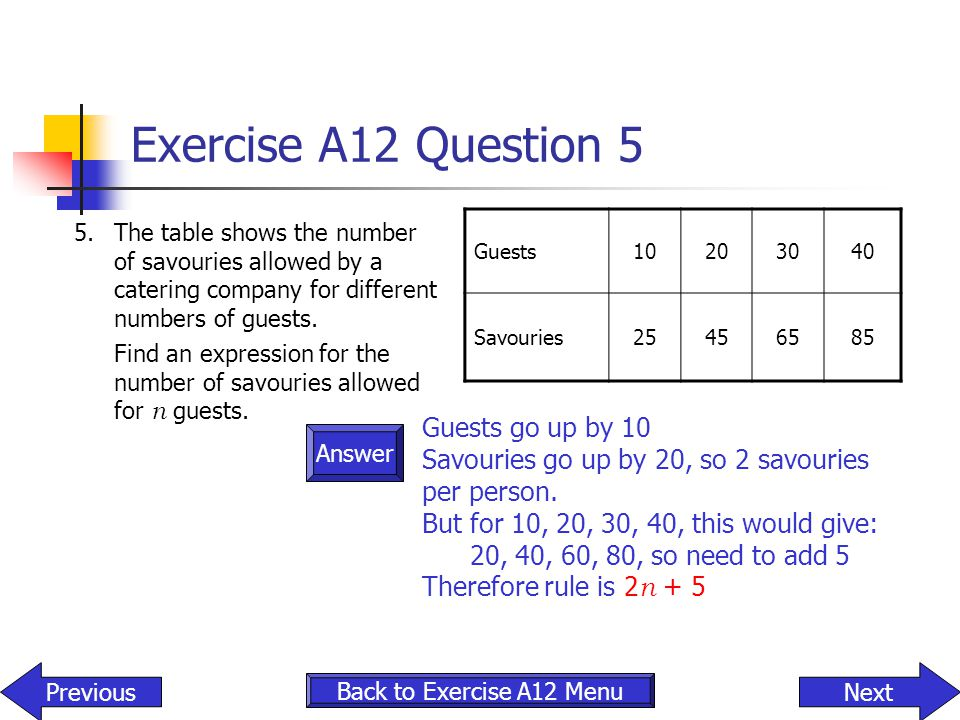 Answer Exercise A12 Question 5 5.The table shows the number of savouries allowed by a catering company for different numbers of guests. Find an expres